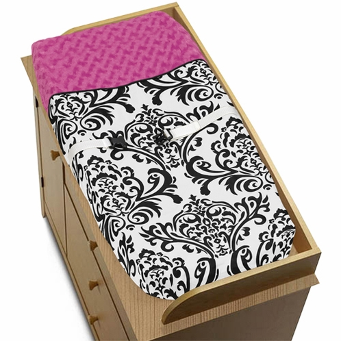 Hot Pink, Black and White Isabella Baby Changing Pad Cover by Sweet Jojo Designs - Click to enlarge