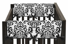 Hot Pink, Black and White Isabella Baby Crib Side Rail Guard Covers by Sweet Jojo Designs - Set of 2