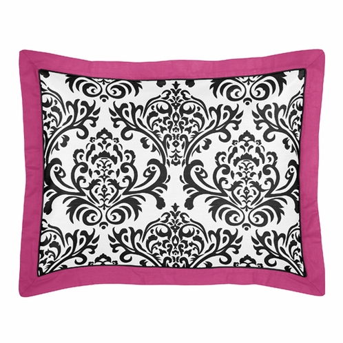 Hot Pink, Black and White Isabella Pillow Sham by Sweet Jojo Designs - Click to enlarge