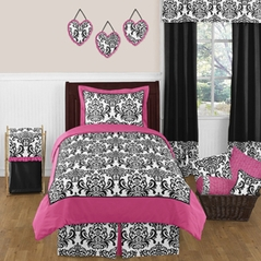 Hot Pink, Black and White Isabella Girls Childrens and Teen Bedding by Sweet Jojo Designs - 4 pc Twin Set
