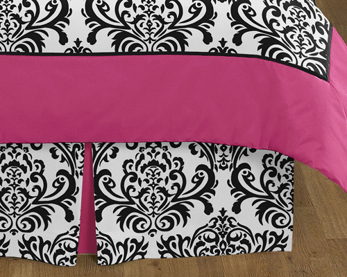 Hot Pink, Black And White Isabella Childrens And Teen Bedding By Sweet Jojo  Designs   3 Pc Full / Queen Set Only $50.33
