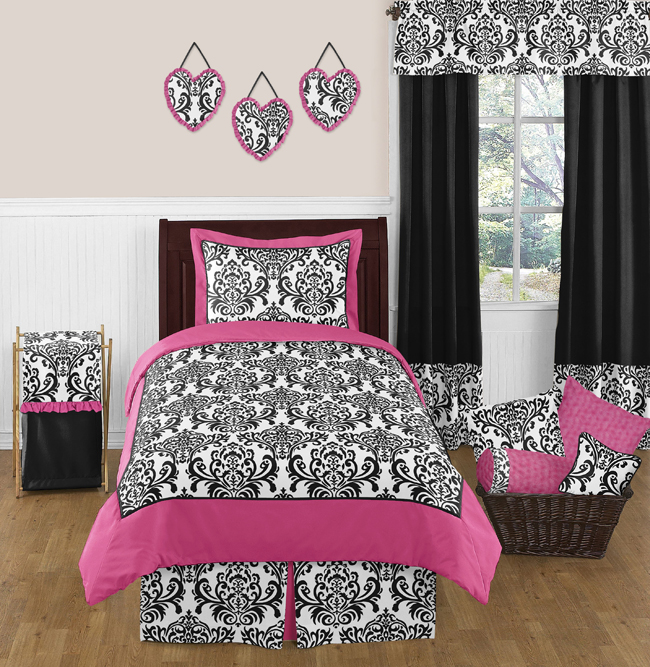 Hot Pink, Black and White Isabella Girls Childrens and Teen Bedding by  Sweet Jojo Designs
