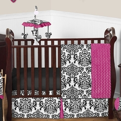 Hot Pink, Black and White Isabella Girls Baby Bedding - 11pc Crib Set
