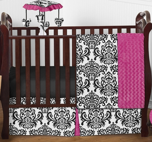 Hot Pink, Black and White Isabella Girls Baby Bedding - 4pc Crib Set - Click to enlarge