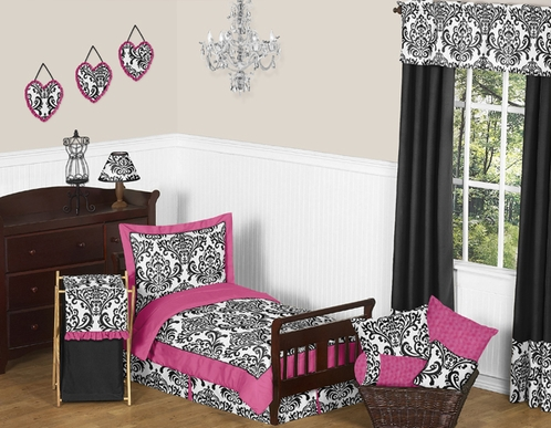 Hot Pink, Black and White Isabella Girls Toddler Bedding by Sweet Jojo Designs - 5pc Set - Click to enlarge
