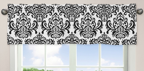 Hot Pink, Black and White Isabella Girls Window Valance by Sweet Jojo Designs - Click to enlarge