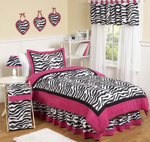 Hot Pink, Black & White Funky Zebra Childrens Bedding - 4 pc Twin Set - Click to enlarge