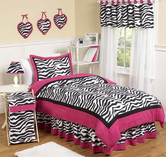 Hot Pink, Black U0026 White Funky Zebra Teen Bedding 3 Pc Full / Queen Set