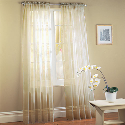 Ivory Sheer Voile Window Panel Coverings - Set of 2 - Click to enlarge