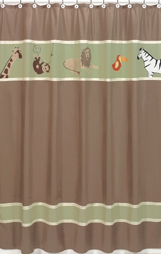Jungle Adventure Kids Bathroom Fabric Bath Shower Curtain - Click to enlarge