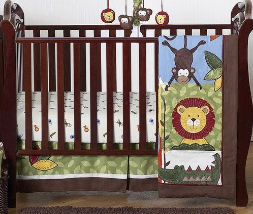 Jungle Time Baby Bedding - 4pc Crib Set - Click to enlarge