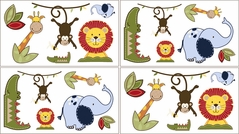 Jungle Time Baby, Children and Kids Animal Wall Decal Stickers - Set of 4 Sheets
