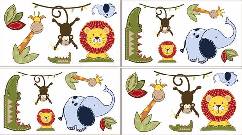 Jungle Time Baby, Children and Kids Animal Wall Decal Stickers - Set of 4 Sheets - Click to enlarge