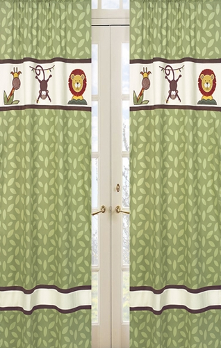 Jungle Time Green Leaf Print Window Treatment Panels - Set of 2 - Click to enlarge