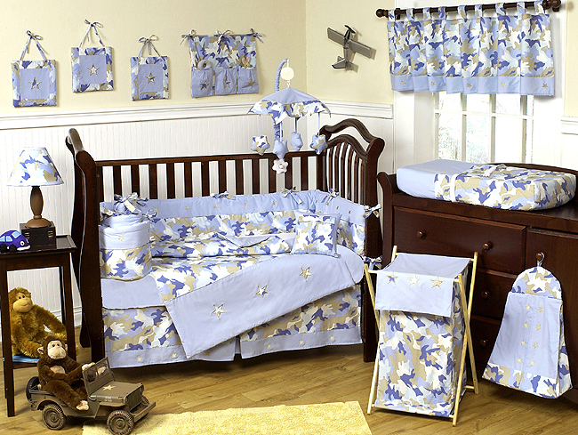 Khaki And Blue Camo Baby Bedding 9pc Crib Set: Monkey Baby Sheets At Alzheimers-prions.com