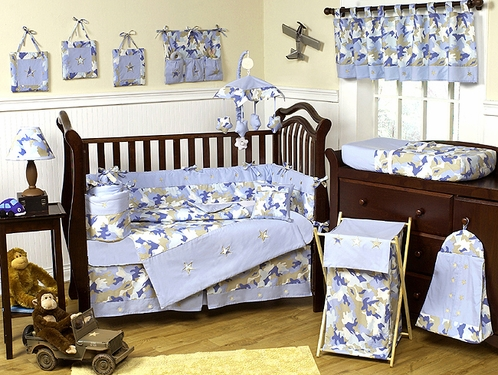 Khaki And Blue Camo Baby Bedding 9pc Crib Set Click To Enlarge
