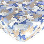 Khaki and Blue Camo Fitted Crib Sheet for Baby and Toddler Bedding Sets by Sweet Jojo Designs - Camo Print