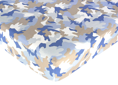 Khaki and Blue Camo Fitted Crib Sheet for Baby and Toddler Bedding Sets by Sweet Jojo Designs - Camo Print - Click to enlarge