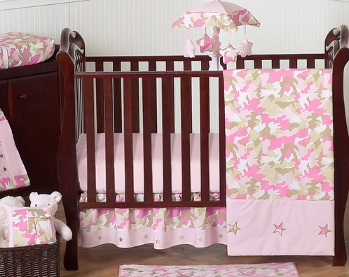 Khaki and Pink Camo Baby Bedding - 11pc Crib Set by Sweet Jojo Designs - Click to enlarge