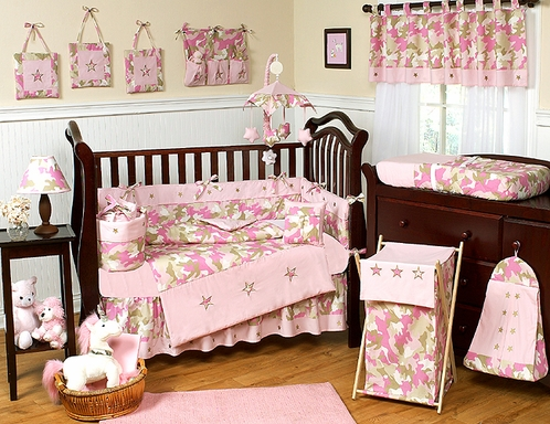 Khaki And Pink Camo Baby Bedding 9pc Crib Set Click To Enlarge