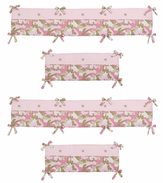 Khaki and Pink Camo Collection Crib Bumper by Sweet Jojo Designs