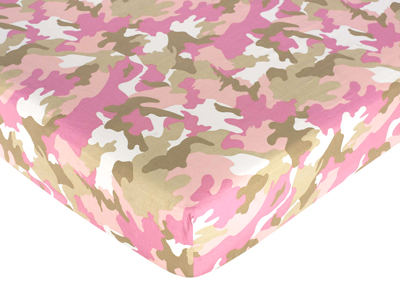 Khaki and Pink Camo Fitted Crib Sheet for Baby and Toddler Bedding Sets by Sweet Jojo Designs - Camo Print - Click to enlarge