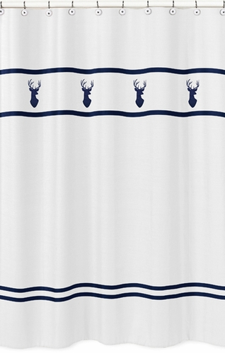 Kids Bathroom Fabric Bath Shower Curtain for Navy, Mint and Grey Woodsy Deer by Sweet Jojo Designs - Click to enlarge