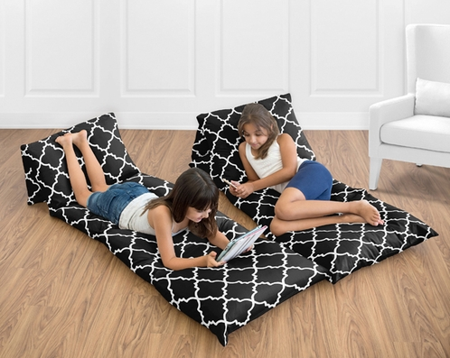 Kids Teen Floor Pillow Case Lounger Cushion Cover for Red and Black Trellis Collection by Sweet Jojo Designs - Click to enlarge