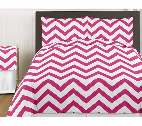 Hot Pink and White Chevron 4pc Childrens and Kids Zig Zag Twin Bedding Set Collection - Click to enlarge