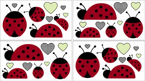 Ladybug Parade Baby and Kids Wall Decal Stickers - Set of 4 Sheets - Click to enlarge