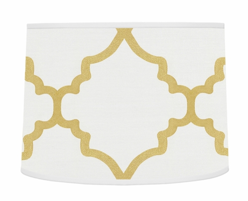 Lamp Shade for White and Gold Trellis Collection by Sweet Jojo Designs - Click to enlarge