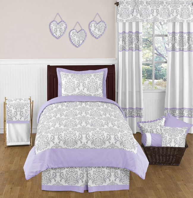 Lavender And Gray Elizabeth Childrens Kids Bedding 4pc Twin Set By Sweet Jojo Designs Only 119 99