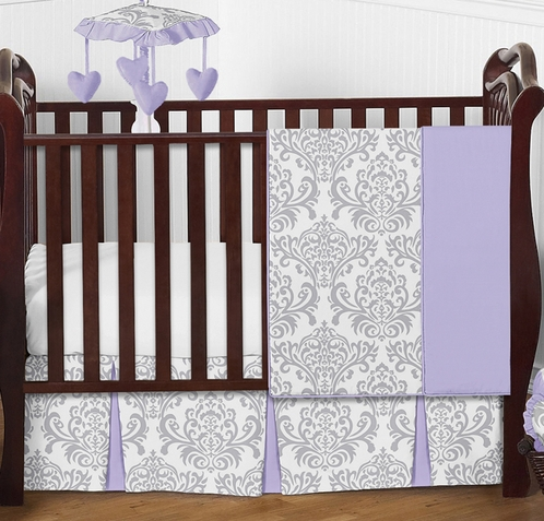 Lavender and Gray Elizabeth Baby Bedding - 4pc Crib Set by Sweet Jojo Designs - Click to enlarge