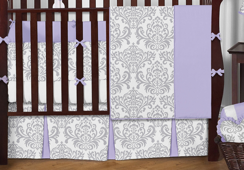 Lavender And Gray Elizabeth Baby Bedding 9pc Crib Set By Sweet Jojo Designs Only 189 99