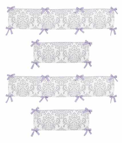 Lavender and Gray Elizabeth Collection Crib Bumper by Sweet Jojo Designs - Click to enlarge