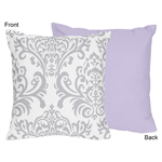 Lavender and Gray Elizabeth Decorative Accent Throw Pillow by Sweet Jojo Designs