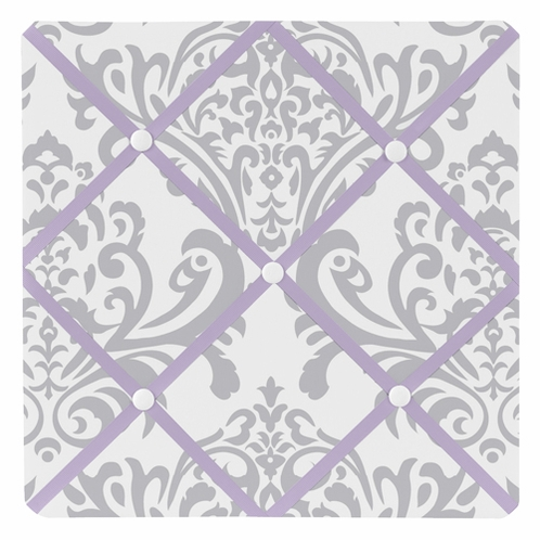 Lavender and Gray Elizabeth Fabric Memory/Memo Photo Bulletin Board by Sweet Jojo Designs - Click to enlarge