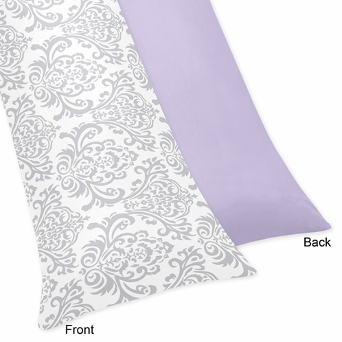 Lavender and Gray Elizabeth Full Length Double Zippered Body Pillow Case Cover by Sweet Jojo Designs - Click to enlarge