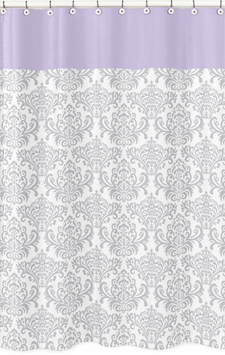 Lavender and Gray Elizabeth Kids Bathroom Fabric Bath Shower Curtain by Sweet Jojo Designs - Click to enlarge