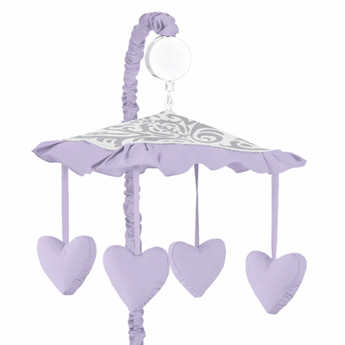Lavender and Gray Elizabeth Musical Baby Crib Mobile by Sweet Jojo Designs - Click to enlarge