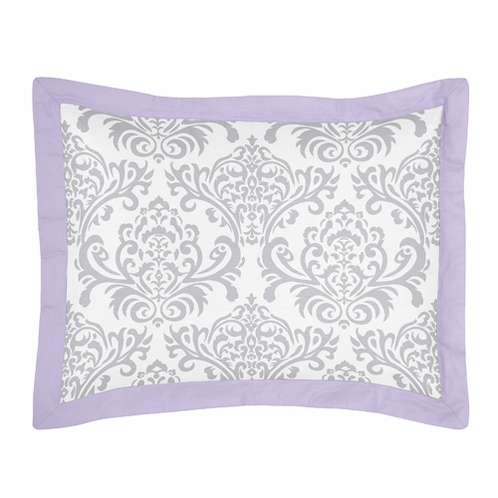 Lavender and Gray Elizabeth Pillow Sham by Sweet Jojo Designs - Click to enlarge