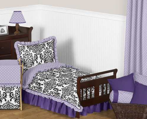 Lavender, Purple, Black and White Sloane Toddler Bedding - 5pc Girls Set by Sweet Jojo Designs - Click to enlarge