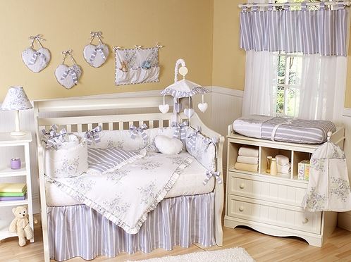 Lavender And Sage Fl Shabby Chic Baby Bedding 9 Pc Crib Set Click To