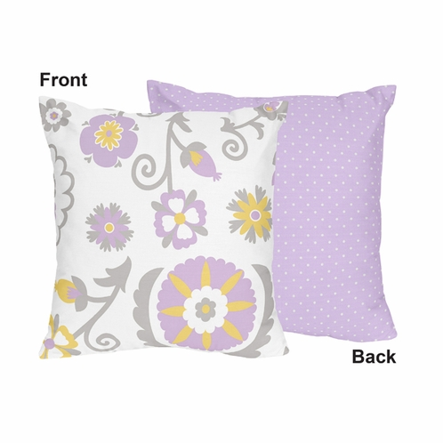 Lavender and White Suzanna Decorative Accent Throw Pillow by Sweet Jojo Designs - Click to enlarge