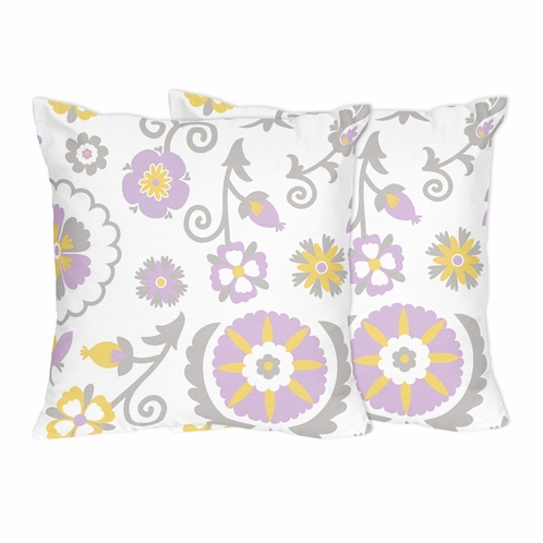 Lavender and White Suzanna Decorative Accent Throw Pillows by Sweet Jojo Designs - Set of 2 - Click to enlarge