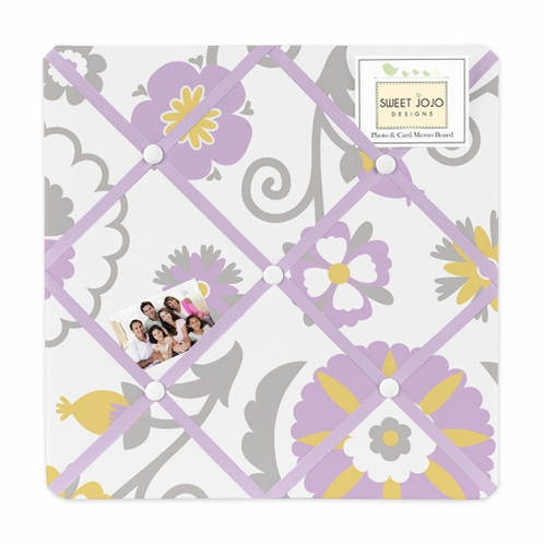 Lavender and White Suzanna Fabric Memory/Memo Photo Bulletin Board by Sweet Jojo Designs - Click to enlarge