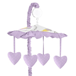 Lavender and White Suzanna Musical Baby Crib Mobile by Sweet Jojo Designs
