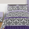 Lavender, Purple, Black and White Sloane 3pc Full / Queen Girls Bedding Set by Sweet Jojo Designs