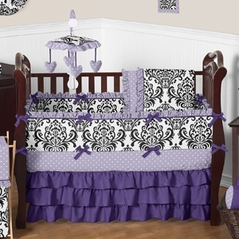Lavender Purple Black And White Sloane Baby Bedding 9pc S Crib Set By