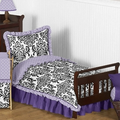 Lavender, Purple, Black and White Sloane Toddler Bedding - 5pc Girls Set by Sweet Jojo Designs